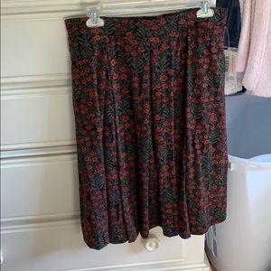 LuLaRoe L Red, Pink & Green Floral Madison Skirt